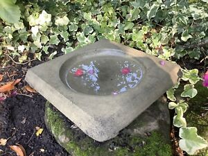 🇬🇧STONE GARDEN SQUARE BIRD BATH TOP / FEEDER REPLACEMENT DISH 🕊🌸🌿🍂