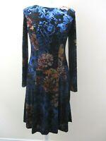 Monsoon dress size 12 floral velvet shimmering tones semi sheer pattern stretch.