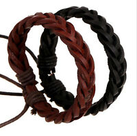 Charm Women Men Unisex Genuine Leather Weaved Braid Bangle Cuff Bracelet Jewelry