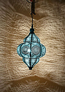 Moroccan Handmade Metal Ceiling Light Pendant Hanging Lamp Bedroom Blue Light