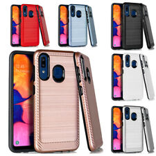 For Samsung Galaxy A20 / A50 Refined Hybrid CF Chrome Slim Hard Case Phone Cover