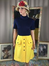 Vintage 70s Cover Girl Navy Blue And Yellow Dress Mod Design S/S Sz 14 Pockets