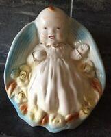 VTG Ceramic SHAWNEE  BABY BOY BLUE GOLD GILT NURSERY PLANTER #265 ~ AS IS