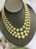 "1950S  Cream White Ladies Women's Three Strand Beaded Pearl Glass Necklace 16"""