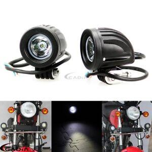 2Pcs Aluminum Motorcycle Round LED Headlight Driving Passing Fog Spot Light Lamp
