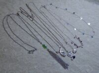 VINTAGE TO NOW ASSORTED SILVER TONE PENDANT NECKLACE LOT TASSEL STARS