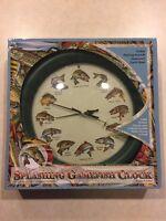 "Splashing Gamefish Clock SOUNDS DO NOT WORK 13"" Mark Feldstein & Asscts AS IS"
