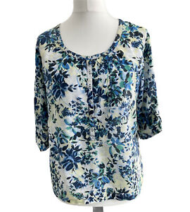 Fat Face Womens Blouse Top Blue UK14 Cotton Floral Tab Sleeves 1/2 Button Front