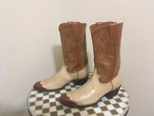 VINTAGE IVORY DISTRESSED JUSTIN USA  ROCKABILLY COWGIRL BOOTS 8.5 B