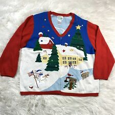 Quaker Factory Christmas Cardigan Sweater Snowman Plus Size 3X Holiday