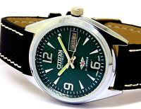 CITIZEN AUTOMATIC MEN,S STEEL VINTAGE DAY DATE GREEN DIAL WRIST WATCH