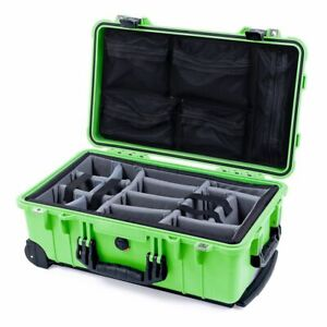 Lime Green & Black Pelican 1510 case with grey dividers & mesh lid organizer.