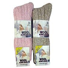 6 Pairs Ladies Thermal Premium Quality Long Wool Socks Mix Size UK 4-7