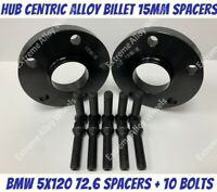 Black Alloy Wheel Spacers 15mm Bmw 1 2 3 5 6 7 8 Series M12x1.5 Bolts 5x120 72-6