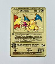 Charizard 1st Edition Base Set Gold Metal Pokemon Card Custom Limited 4/102