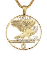 "Italy Eagle Coin Pendant & Necklace.Hand cut Coin  7/8"" diameter ( # 198 )"
