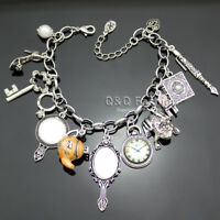 Party Charms Fairytale Princess Alice in Wonderland Chain Bangle Bracelet H6