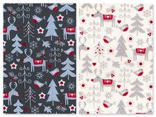 Christmas Fabric Per Metre Fat Quarter Red Grey Cream Craft Festive Advent Noel