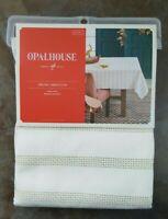 Opalhouse Oblong Tablecloth 52 x 70 Cream Gold Metallic Stripe Target NEW