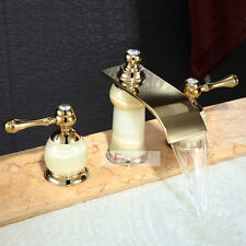 Waterfall Tub Widespread 3pcs Bath Faucet For Basin Mixer Brass&Stone Gold Tap