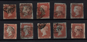 GB QV 1841 1d red imperf fine used collection x 10 WS22400