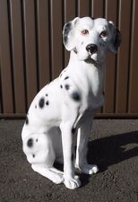 LARGE CERAMIC DALMATIAN DOG MADE IN ITALY OLD POTTERY FIGURINE ITALIAN 48 CM