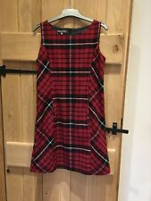Laura Ashley Red check wool mix pinafore dress size 12 35 in length
