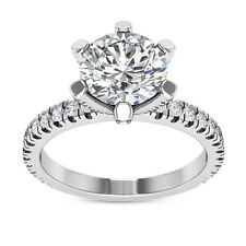 Solitaire Pave 1.48 Carat SI2/E Round Cut Diamond Engagement Ring 14k White Gold