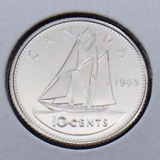 1988 Canada 10 Ten Cents Dime Canadian Brilliant Uncirculated BU Coin G452