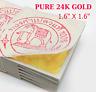 """Thai 100% Pure Genuine Gold Leaf - 24 Karat 1.6"""" x 1.6"""" 100 Sheets BKK Suppliers"""