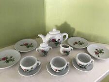 Vintage 15 piece ceramic children's multicolor floral tea set