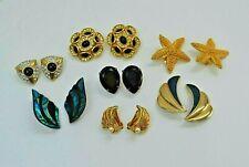 Vintage clip on earrings job lot 7 pairs - gold plated, enamel costume earrings