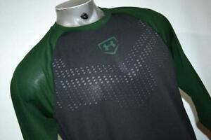 18787-a Under Armour Gym Shirt Baseball Black Green Size Large Polyester MENS