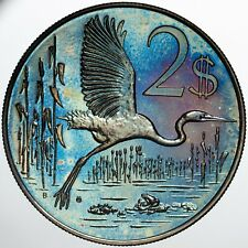 1973 CAYMAN ISLANDS 2 DOLLARS SILVER PROOF COLOR UNC TONED CHOICE STRIKING (DR)