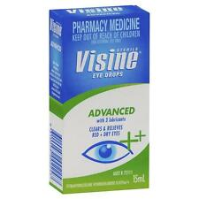 Visine Advanced Eye Drops 15ML Clears and Relieves Red+Dry Eyes