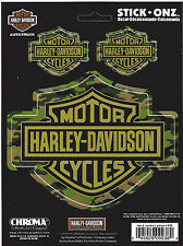 harley davidson motorcycle bike 3 decal sticker bar shield live ride camo hunt