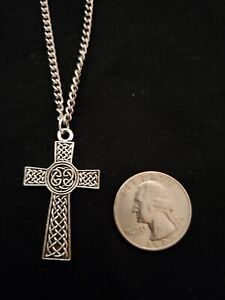 Antique Silver Tone Celtic Cross necklace or earrings stainless steel chain