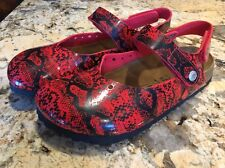 Betula Birkenstock Red & Black Clogs Flats Moccasin Shoe Sandal L 7 / M 5 EUC