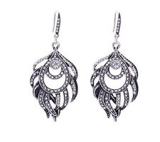 NEW Earrings Silver Moroccan Ethnic Boho Tribal Arabic Afghan Boho Feather Kuchi