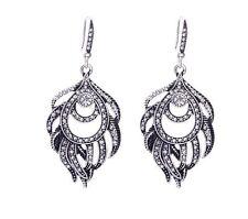 NEW Earrings Silver Moroccan Ethnic Boho Tribal Arabic Afghan Boho Feather Kuchi