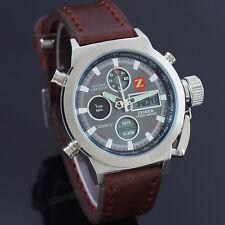 ZEIGER Herren Uhr Braun Leder Armbanduhr Sportlich Datum Licht Chronograph Uhr