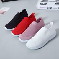 Women's Breathable Slip On Flat Shoes Mesh Sneakers Comfy Pumps Trainers I1P8