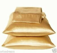 """KING - TWO SOFT """"SILKY"""" SATIN / SATEEN PILLOW CASE / COVER - GOLD COLOR (1 PAIR)"""