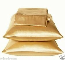 "KING - TWO SOFT ""SILKY"" SATIN / SATEEN PILLOW CASE / COVER - GOLD COLOR (1 PAIR)"