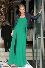 Kate Moss Topshop,Emerald Green Silk Maxi Dress,Iconic,Hippy boho chic.Party.