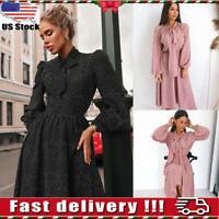 Womens Polka dot Long Sleeve Midi Dress Ladies Party Dress Maxi Dress Size S-XL