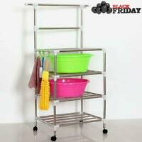 4 Shelves Bathroom Kitchen Trolley Rack Stainless Steel Storage Stand W/ Wheels