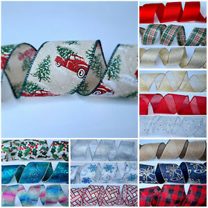 Christmas Ribbon Wired Edge Tree Decoration Gift Wrap Presents Craft Glitter UK