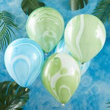 Dinosaur Party Green & Blue Marble Balloons Helium Kids Birthday Decoration x 10