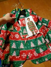 Suitmeister Ugly Christmas Suit Boys Kids Size Small Tree Snowflake 3 piece set
